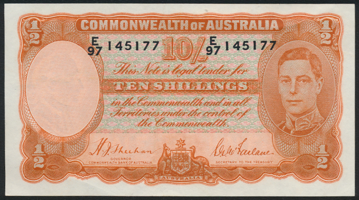 Australia-1939-King-George-VI-10-Sheehan-McFarlane-aEF-Cat-625-VF-1-400-EF