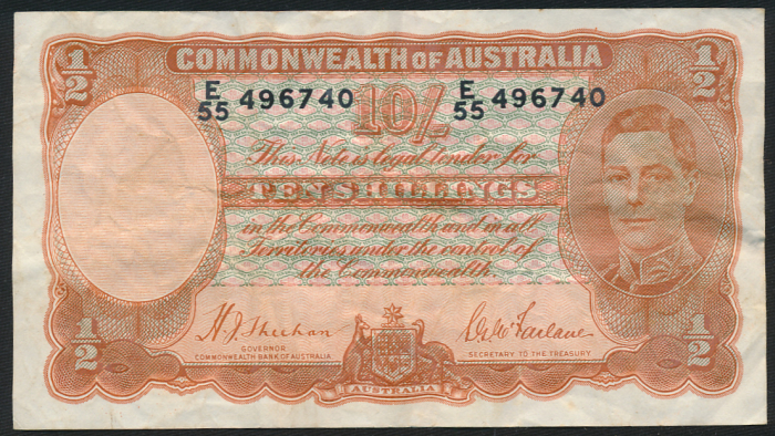 Australia-1939-King-George-VI-10-Sheehan-McFarlane-VF-Cat-625-Scarce