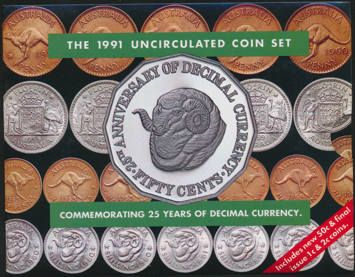 Australia-1991-Mint-Set-RAMS-HEAD-50c-Cat-40-Scarce