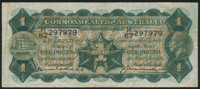 Australia-1926-KGV-1-Kell-Heathershaw-aVF-Error-Note-with-Plate-Number-RARE