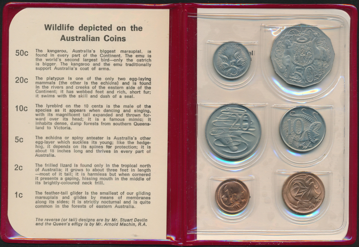 Australia-1969-RAM-6-coin-Mint-Set-Red-Wallet-Cat-120-RARE