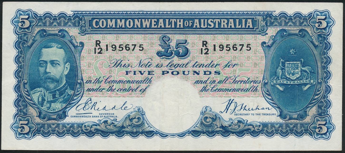 Australia-1933-King-George-V-5-Riddle-Sheehan-Cat-4-750-VF-White-Face-R-44b