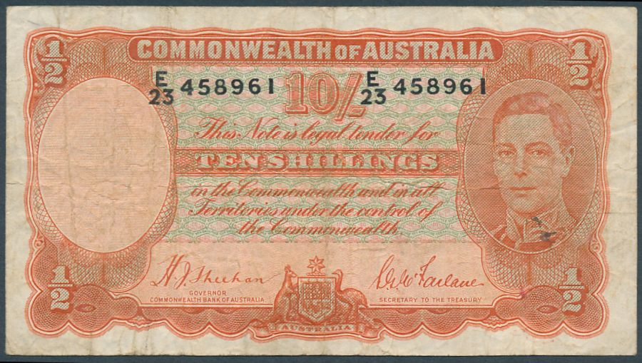 Australia-1939-King-George-VI-10-Sheehan-McFarlane-Fine-Cat-265-Scarce