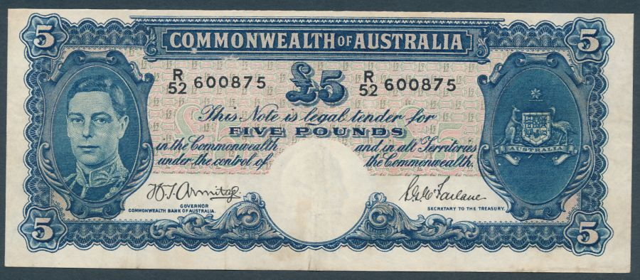 Australia-1941-King-George-VI-5-Armitage-McFarlane-R-46-Cat-100-F-425-VF