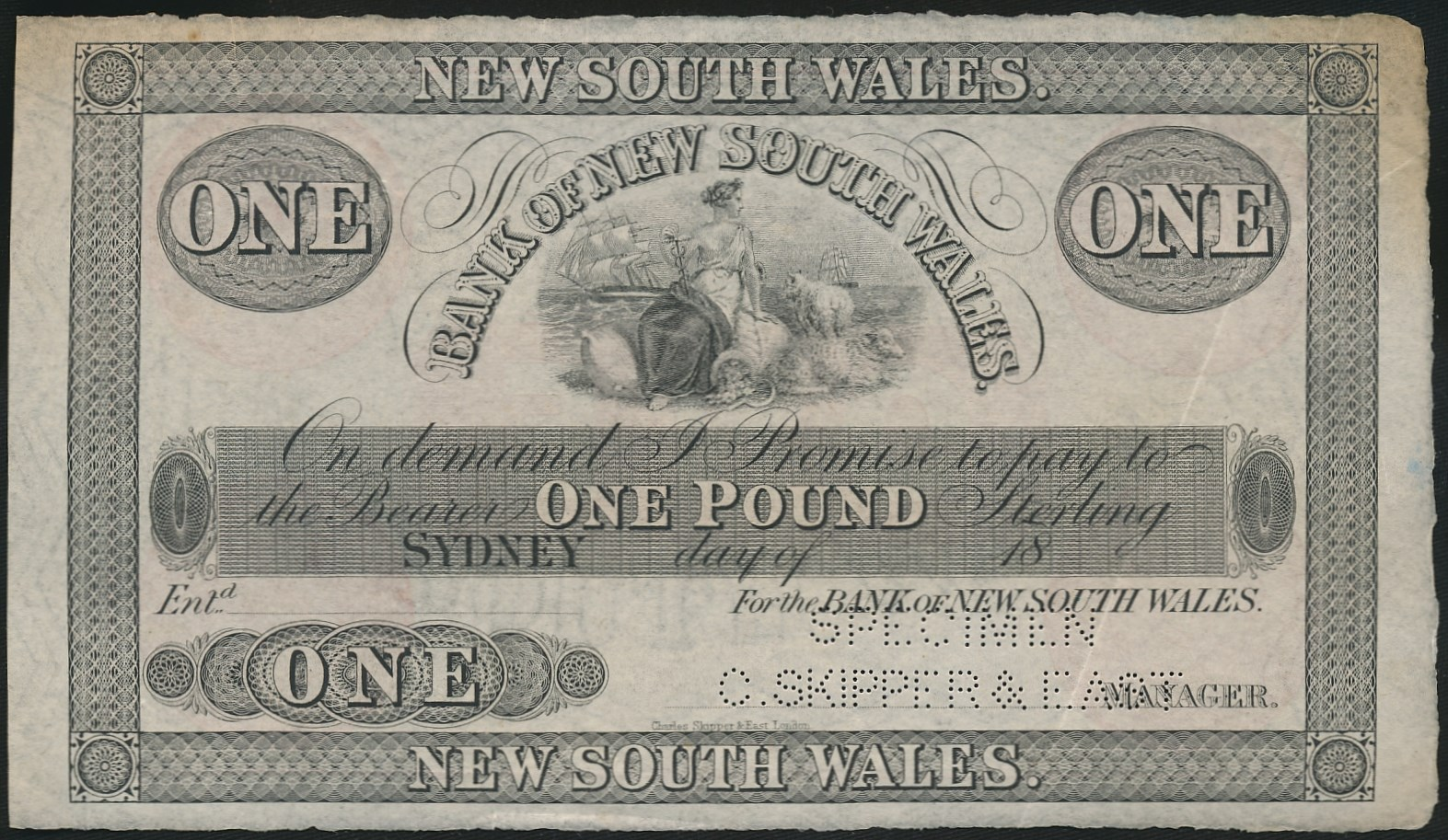 Australia-c1880s-Bank-of-New-South-Wales-Sydney-1-Specimen-Cat-18-000-RARE