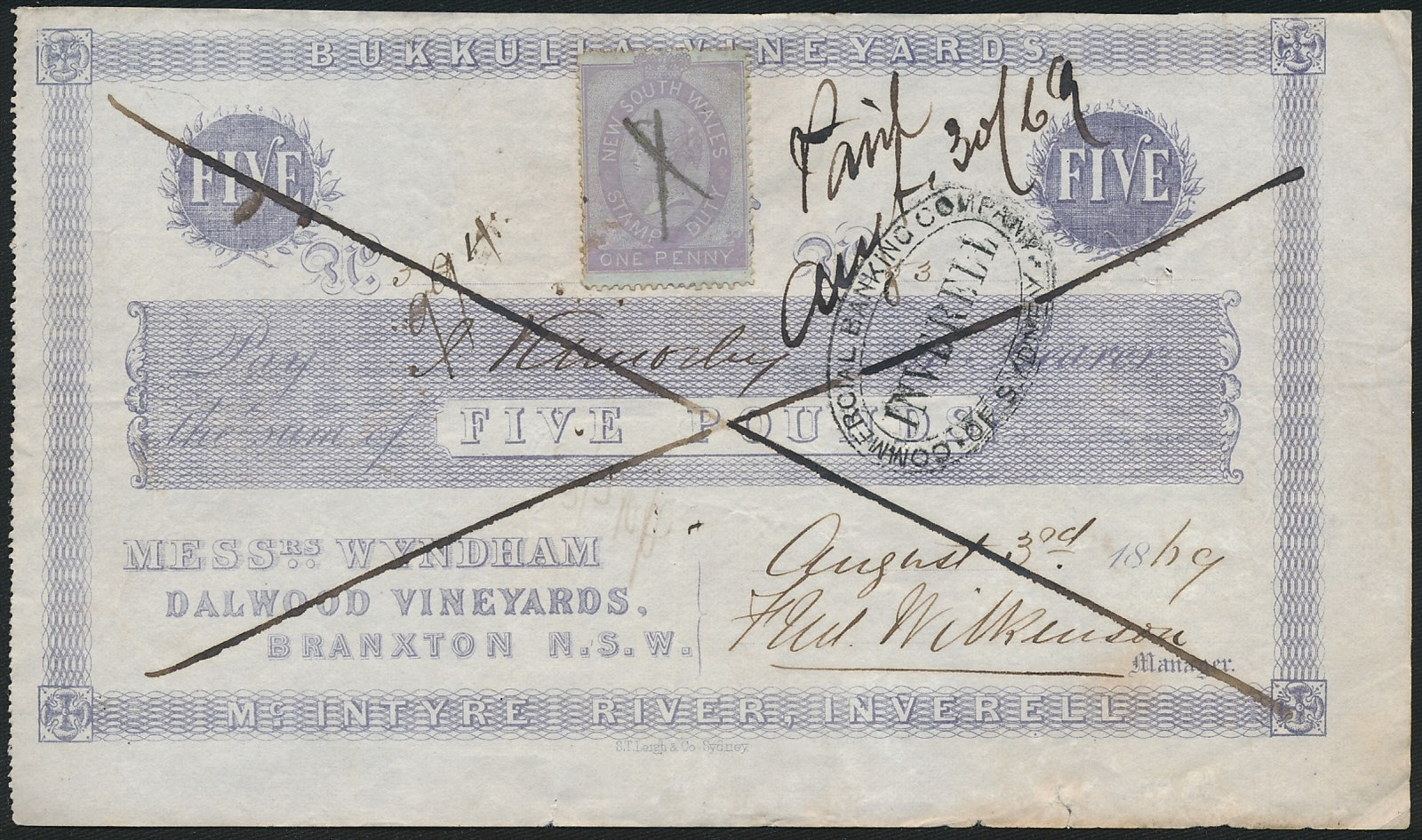 Australia-1869-Bukkulla-Vineyards-5-pay-J-Kimberley-No-53-VERY-RARE
