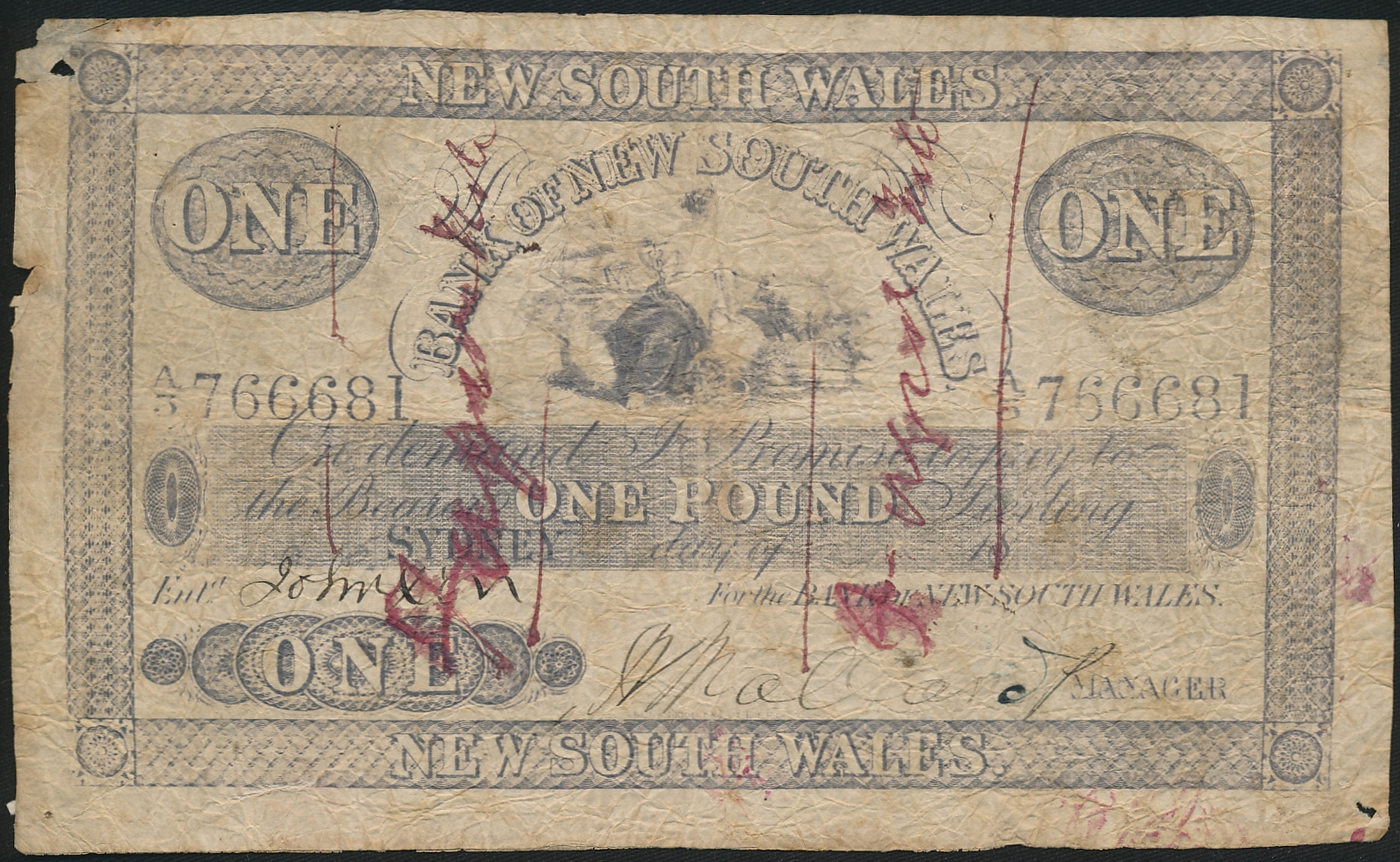 Australia-c1880-Bank-of-New-South-Wales-Sydney-1-Contemporary-forgery-RARE