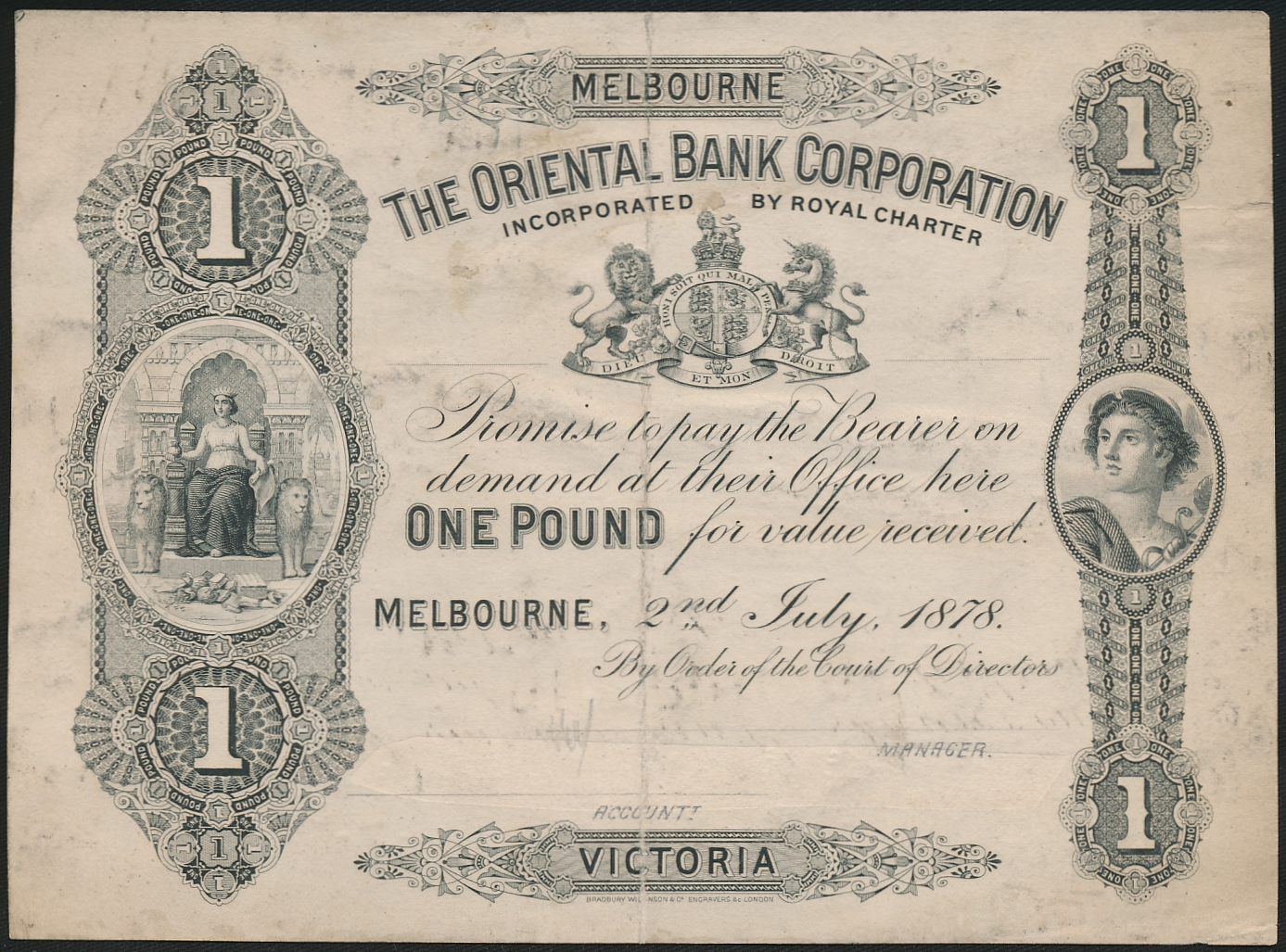 Australia-1878-Oriental-Bank-Corporation-Melbourne-1-Cat-24-000-RARE