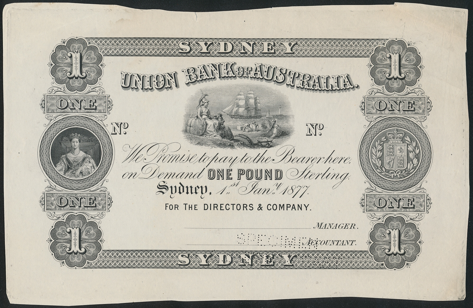 Australia-1877-Union-Bank-of-Australia-Syd-1-Cat-24-000-Uniface-Printer-Proof